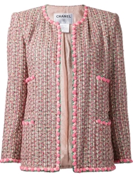 Chanel Vintage Boucle Knit Jacket Pink And Purple