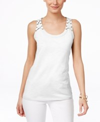 Inc International Concepts Petite Lace Up Tank Top Only At Macy's Bright White