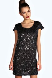 Ruby Sequin Front Capped Sleeve Shift Dress