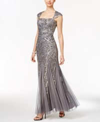 Adrianna Papell Sequin Cutout Back Mermaid Gown Silver