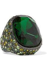 Kenneth Jay Lane Gunmetal Plated Crystal Ring Emerald Gunmetal