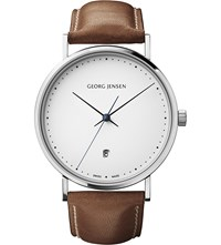 Georg Jensen Koppel Stainless Steel And Leather Watch