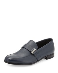 Prada Saffiano Leather Side Buckle Loafer Blue