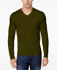 Club Room Men's Big And Tall Merino Wool V Neck Sweater Only At Macy's Coffee Bean