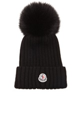 Moncler Fur Pom Ribbed Beanie In Black