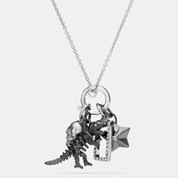 Coach Rexy Skull Charm Set Necklace Silver Black