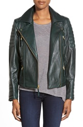 Vince Camuto Lambskin Leather Moto Jacket Hunter Green