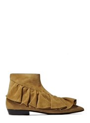 J.W.Anderson Suede Ruffle Ankle Boots Beige