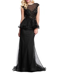 Mac Duggal Sequined Bodice Mesh Peplum Gown Black