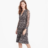 J.Crew Petite Long Sleeve Dress In Feather Print
