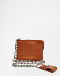 Asos Leather Wallet In Tan With Zip Around Detail And Chain