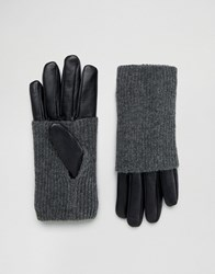 Pieces Leather Gloves With Jersey Hand Warmer Black