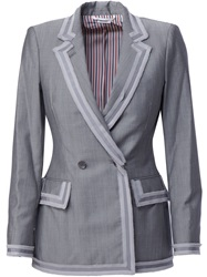 Thom Browne Trimmed Double Breasted Blazer Grey