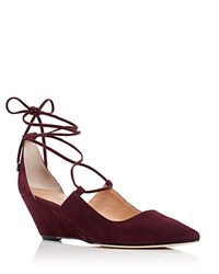 Sigerson Morrison Wynne Lace Up Demi Wedge Pumps Dark Burgundy