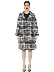 Dolce And Gabbana Oversized Macro Wool Blend Tweed Coat