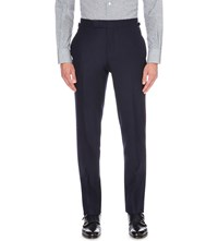 Tom Ford Regular Fit Tapered Wool Flannel Trousers Navy