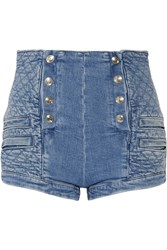 Balmain Button Detailed Quilted Stretch Denim Shorts