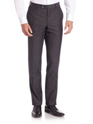 Saks Fifth Avenue Straight Leg Wool Blend Trousers Black