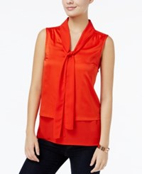 Tommy Hilfiger Tiered Bow Tie Blouse Only At Macy's Maui Orange