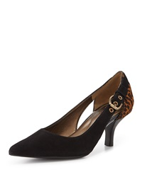 Circa Joan And David Calla Lily Suede Pump Black Leopard