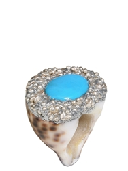 Mesi Jilly Cowrie Shell W Turquoise Capri Ring Silver
