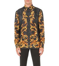 Versace Tiled Baroque Silk Shirt Black Gold