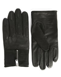 Sandro Black Race Leather Gloves