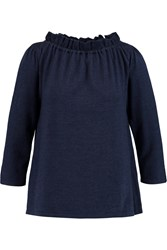 Goat Wren Ruffled Cotton Jersey Top Blue