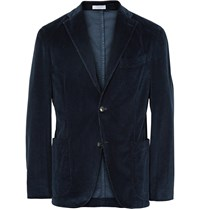 Boglioli Blue K Jacket Slim Fit Stretch Cotton Corduroy Blazer Blue