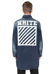 Off White Printed Washed Cotton Denim Shirt
