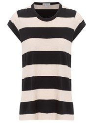 James Perse Black Stripe Crew Neck T Shirt Multi