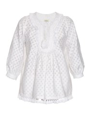 Talitha Tassel Trimmed Cotton And Silk Blend Top White