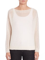 Eileen Fisher Airy Mohair Blend Boxy Sweater Soft White