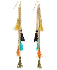 Macy's Gold Tone Colorful Tassel Fringe Linear Drop Earrings