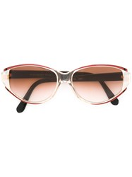 Yves Saint Laurent Vintage Oval Frame Sunglasses Red
