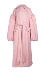 Simone Rocha Sparkle Wool Double Breasted Coat Pink