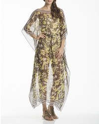 Ondademar Belted Printed Sheer Silk Kaftan Coverup Wild