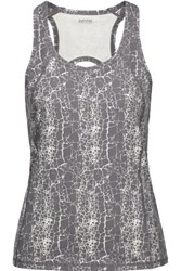 Yummie Tummie By Heather Thomson Janis Printed Cutout Stretch Cotton Tank Anthracite