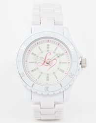 Lipsy White Watch With Pink Heart