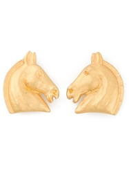 Hermes Vintage Horse Earrings Metallic