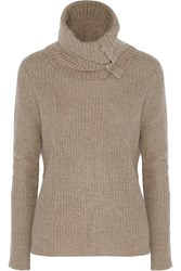Autumn Cashmere Ribbed Knit Turtleneck Sweater Nude