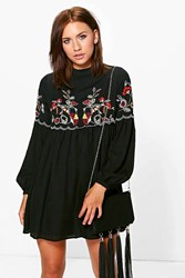 Boohoo Connie Embroidered Smock Dress Black