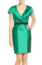 Sachin Babi Women's And Noir 'Fonda' Beaded Waist Jacquard Sheath Dress Emerald