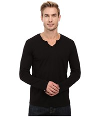 Mod O Doc Les Carillo Long Sleeve Notch Slub Jersey V Neck Black Men's Clothing