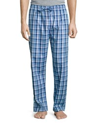 Derek Rose Plaid Cotton Pajama Pants Blue