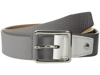Cole Haan 35Mm Flat Stitch Strap Pebble Leather Pop Color Tab Grey White Men's Belts Gray