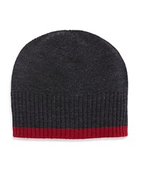 Bloomingdale's The Men's Store At Contrast Edge Beanie Charcoal Red