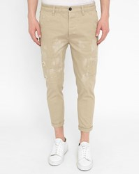 Dsquared Beige Elasticated Waist Short Cut Patched Chinos