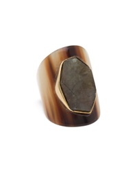 Ashley Pittman Rough Cut Dark Horn Ring 6 1 2