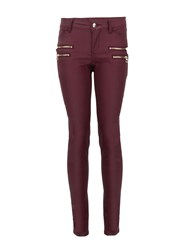 Morgan Slim Fit Jeans With Zipped Detailing Dark Red